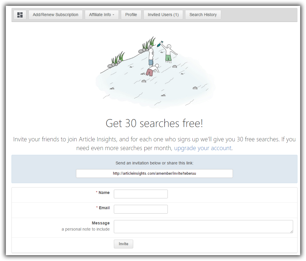 Invite your friends to try out Article Insights and get free searches!